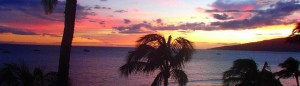 Sunset from Sugar Beach on the edge of Kihei, Maui, Hawaii